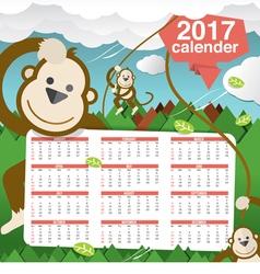 Cute Monkeys 2017 Calendar Starts Sunday vector image