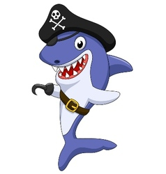 Cute pirate shark cartoon vector