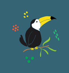 Cute toucan cartoon animal baby and children vector