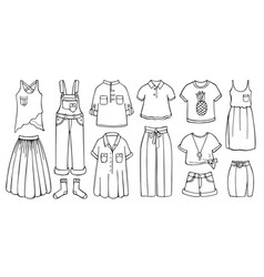 Doodle set female clothes for spring and summer vector