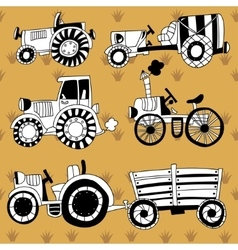 Doodle tractors vector
