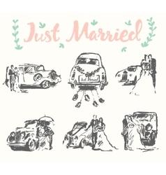 Drawn bride groom old fashioned car sketch vector