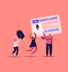 Driver license concept male female characters vector