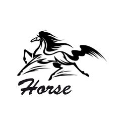 Equestrian riding club symbol with running horse vector