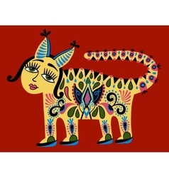 Fantastic ethnic folk animal on Ukrainian vector