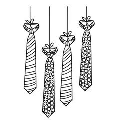 Figure elegant ties hanging icon vector