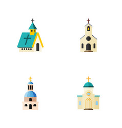 Flat icon church set of religious church vector
