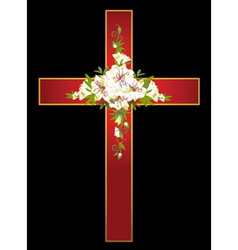 Flowers and a cross vector image