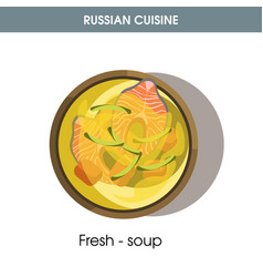 fresh-soup with fish in bowl from russian cuisine vector image