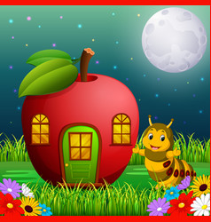 Funny caterpillar and a apple house in forest vector