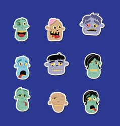 funny zombie avatar icon set vector image