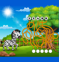 Game zebra maze find way to the word vector