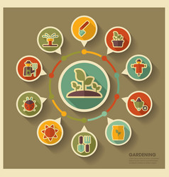 Garden farm icons and agriculture infographics vector