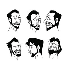Graphic set of drawings of emotions of the bearded vector