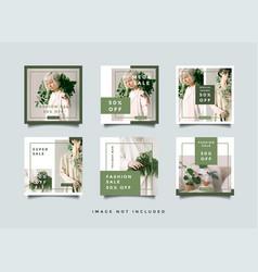 Green fashion social media promotion square vector