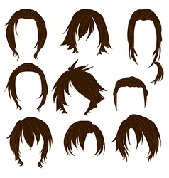 Hair styling for woman drawing Brown Set 3 vector