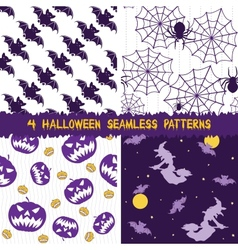 Halloween seamless patterns collection vector