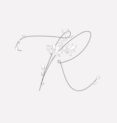 Hand lettering floral r monogram and logo vector