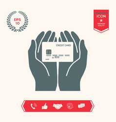 hands holding credit card icon vector image