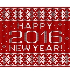 Happy 2016 new year knitted greeting card vector