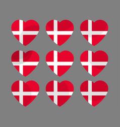 Hearts with the denmark flag i love the denmark vector