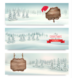 holiday christmas banners with winter landscare vector image