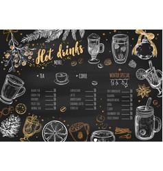Hot drinks winter menu 1 vector