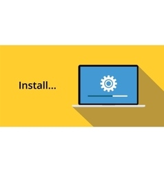 Install concept with laptop notebook gear icon and vector