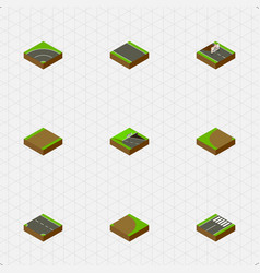 isometric way set of bitumen footpath footer and vector image