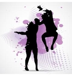 Jumping boy and girl vector
