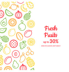 line fruits icons background with place for vector image