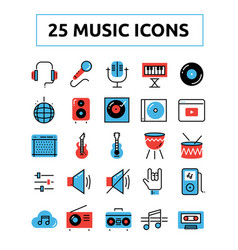 Line music icons set 2 vector