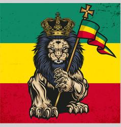 Lion judah marijuana cannabis smoke rastafa vector