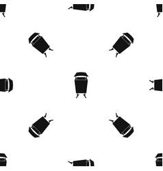 Litter waste bin pattern seamless black vector