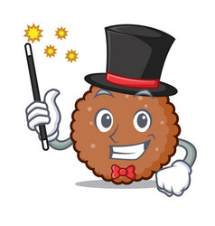 Magician chocolate biscuit mascot cartoon vector