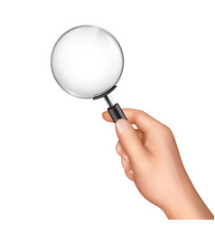 Magnifying glass in human hand realistic vector