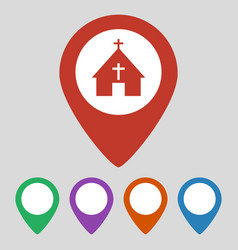 map pointer with church icon on grey background vector image