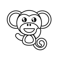 Monkey animal toy outline vector