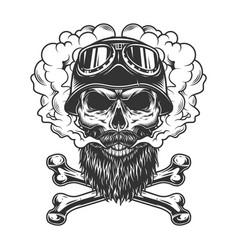 Monochrome biker skull in smoke cloud vector