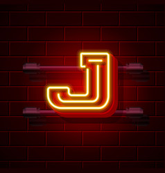 Neon city font letter j signboard vector