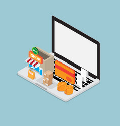 online shopping concept laptop with shopping icon vector image