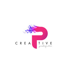 P letter logo design with ink cloud flowing vector