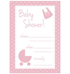 Pink baby shower card or invitation for a girl vector image