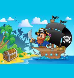 Pirate ship theme image 1 vector
