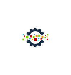 pixel gear logo icon design vector image