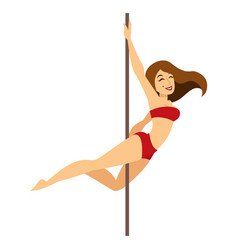 Pool dance girl in underwear and pylon female vector