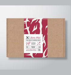 Premium quality lamb fillet craft cardboard box vector