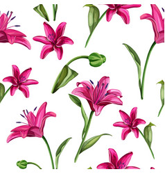 realistic pink lily blossom leaves stem set vector image