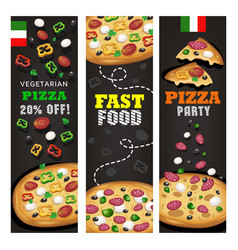 Realistic pizza pizzeria flyer background vector