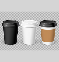 Realistic white disposable paper cup vector